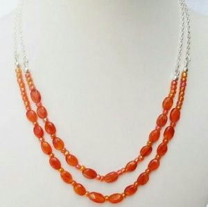 2 Strand Carnelian and Sterling Silver Necklace,